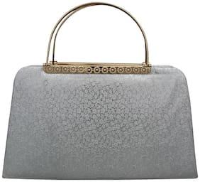 Freya Women Solid Faux Leather - Clutch Silver