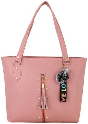 GD FASHION Pink Faux Leather Shoulder Bag