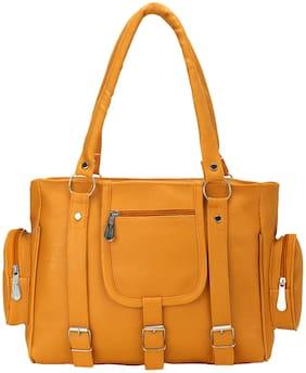 GD FASHION Beige Synthetic Shoulder Bag