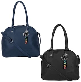GD FASHION Black & Blue Synthetic Shoulder Bag