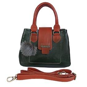 GUGALINDIA Leather Women Handheld bag - Green & Orange