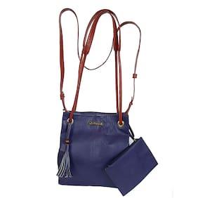 GUGALINDIA Leather Women Handheld bag - Purple & Orange