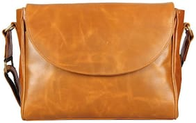 Genuine Leather Oil Pull-Up Two Tone Tan Messenger Bag by Aditi Wasan