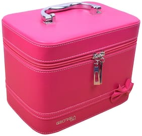 Georgia Women Faux Leather Vanity Case - Pink