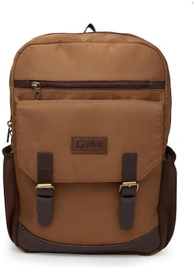 GEPACK 30cm Sand Polyester with Faux Leather Laptop Office Laptop Backpack