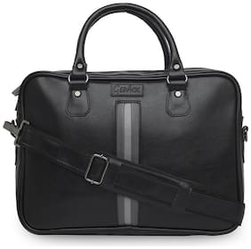 GEPACK Black Faux Leather 35 cms Laptop messenger bag [ Up to 16 inch Laptop]