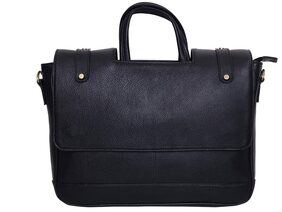 GHAFM Black Coloured15.6 inches Genuine Leather Laptop Bag