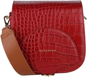 Giordano Red PU Solid Sling Bag