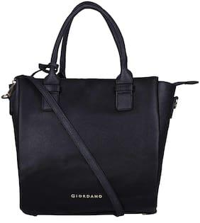 Giordano Black Faux Leather Handheld Bag