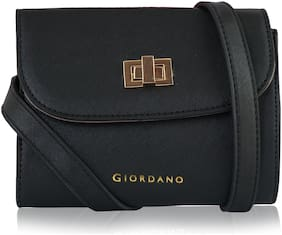 Giordano Black PU Solid Sling Bag
