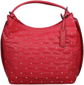 Giordano Red Faux Leather Handheld Bag