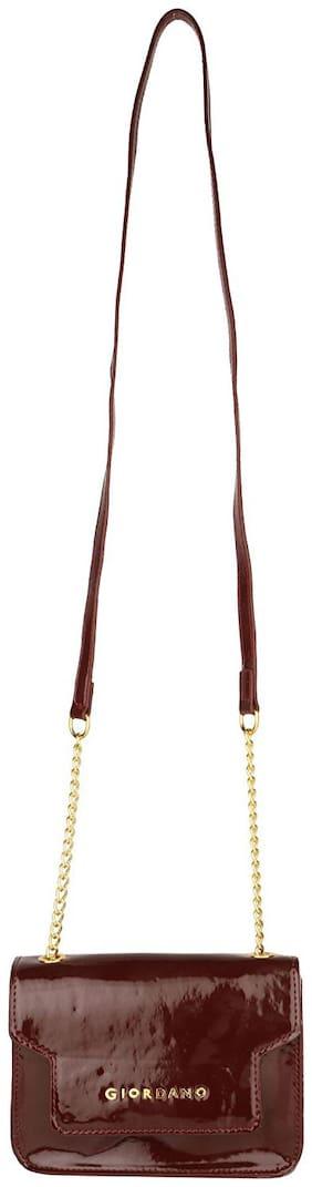 Giordano Maroon PU Solid Sling Bag