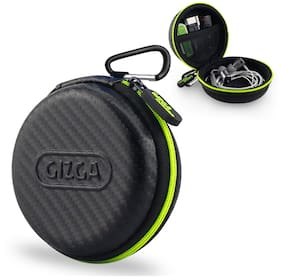 Gizga Essentials Earphone Case - Multi Purpose Pocket Storage Travel Organizer Case for Earphone, Pen Drives, Memory Card, Data Cable - Carbon Fibre (Black/Green)