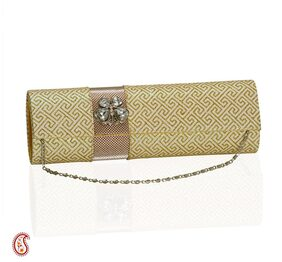 Glittering gold and copper clutch