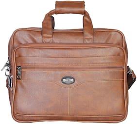 Goodwin Tan Faux leather Laptop messenger bag