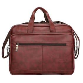 Goodluck Sleeves Office Bag For Men's Brown Faux Leather Bag