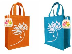 GREAN Jute Lunch Bag/ Tote Combo - Set of 2 Jute Bags for Lunch/ Gift