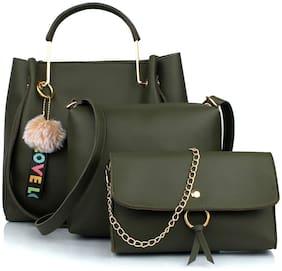 The Mini NEEDLE Green PU Handheld Bag - CB-GRN3N
