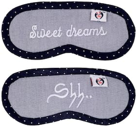 Happiness OverloadedTM SM 56 (Set Of 2) Sweet Dreams & Shh... Baby Eye Shade Grey Color Sleeping Mask