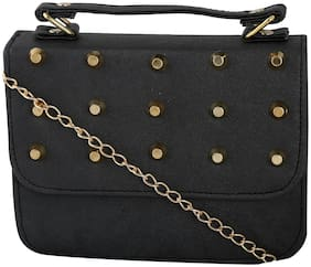 Haqeeba Women Solid PU - Sling Bag Black