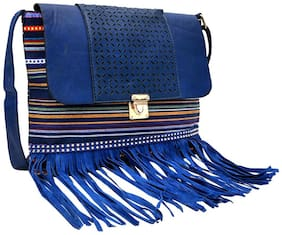 Hawaishop Blue PU Solid Sling Bag