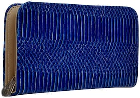 Hawaishop Women Faux Leather Wallet - Blue