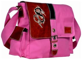 Hawaishop Pink Canvas Solid Sling Bag