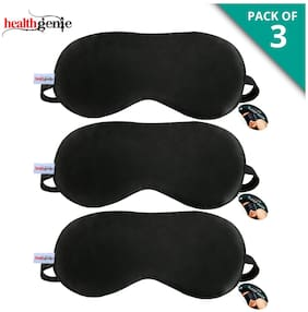 Healthgenie 100% Silk;Super Smooth Sleep Mask with Adjustable Strap and Blind Fold Eye Mask (Black) - Pack of 3