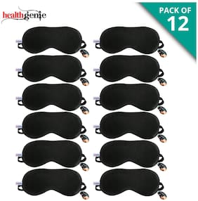 Healthgenie 100% Silk;Super Smooth Sleep Mask with Adjustable Strap and Blind Fold Eye Mask (Black) - Pack of 12