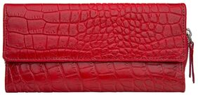 Hidesign Women Solid Leather - Clutch Red