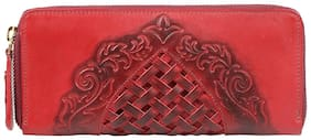Hidesign Women Leather Wallet - Red
