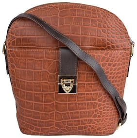 Hidesign Leather Women Shoulder Bag - Tan