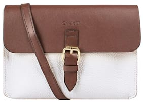Holii Women Solid Faux Leather - Sling Bag White