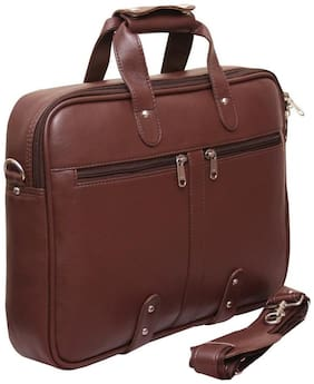 Home Story Brown Faux leather & Polyester Laptop messenger bag