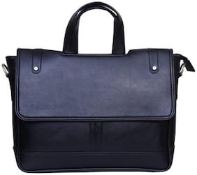 Home Story Black Faux leather & Polyester Messenger bag