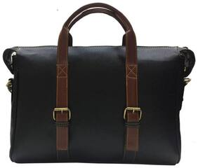 Home Story Black Faux leather & Polyester Laptop messenger bag