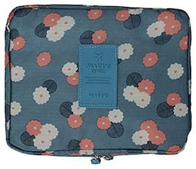 Honestystore  Toiletry Bag Wash Bag Multi function Cosmetic Bag Portable Makeup Pouch Waterproof Travel Organizer Bag (Blue Flower)