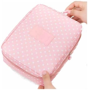 Honestystore  Toiletry Bag Wash Bag Multi function Cosmetic Bag Portable Makeup Pouch Waterproof Travel Organizer Bag - (Peachpink whitedotted)