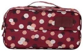 Honestystore  Waterproof Travel Divided Underwear Pouch Makeup Toiletry Cosmetic Organizers Women Bag - Maroon Flower