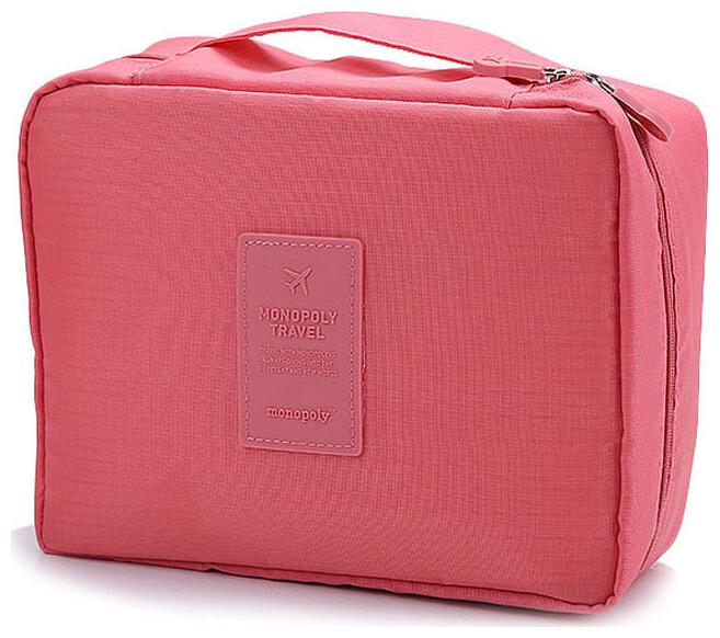 Honestystore Portable Waterproof Multi Pouch Travel Toiletry Cosmetic Makeup Case Storage Bag With Handle Peach pink