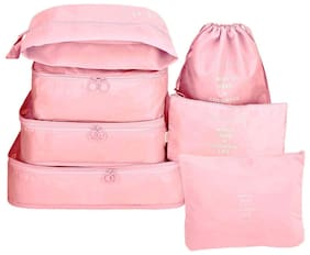 House of Quirk 3 Packing Cubes, 3 Pouches and 1 Toiletry Polyester Travel Organizer Bag - (Pink) - 7 Set