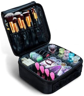House Of Quirk Women Fabric Vanity Case - Black