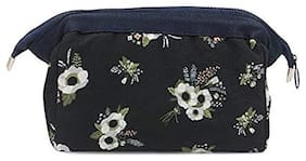 House of Quirk Women's Polyester Multi-Colour Blue Flower Toiletry Kit Jewellery Organizer Electronics Accessories Hard Drive Carry Case Portable