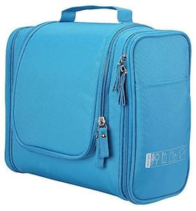 House of Quirk Toiletry Bag with Hanging Hook Organizer for Travel Accessories - Sky Blue