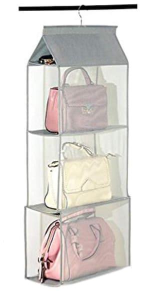 House of Quirk Hanging Handbag Organizer Dust-Proof Nonwoven Storage Holder Bag Closet Wardrobe for Purse Clutch with 3 Large Pockets (Grey)