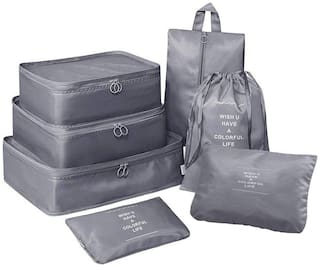 House of Quirk 3 Polyester Packing Cubes with 3 Pouches and 1 Toiletry Grey Organizer Bag