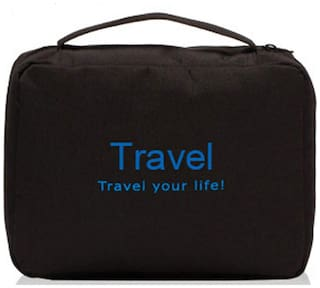 House of Quirk Toiletry Bag Travel Organizer Cosmetic Bags Makeup Bag Toiletry Kit Travel Bag Travel Toiletry Bag Unisex - Black