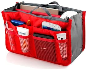 House of Quirk Red Polyester Handbag with Multipocket 13 Compartment Organizer