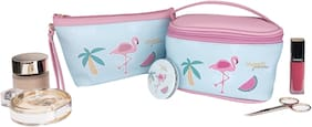 House of Quirk Waterproof Cosmetic Bag 3 piece Set Travel Toiletry Bag - Flamingo Printed