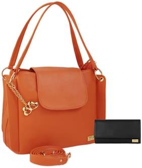 I Define You PU Leather Women and Girls Handbag & Wallet Combo ( Orange & Black )
